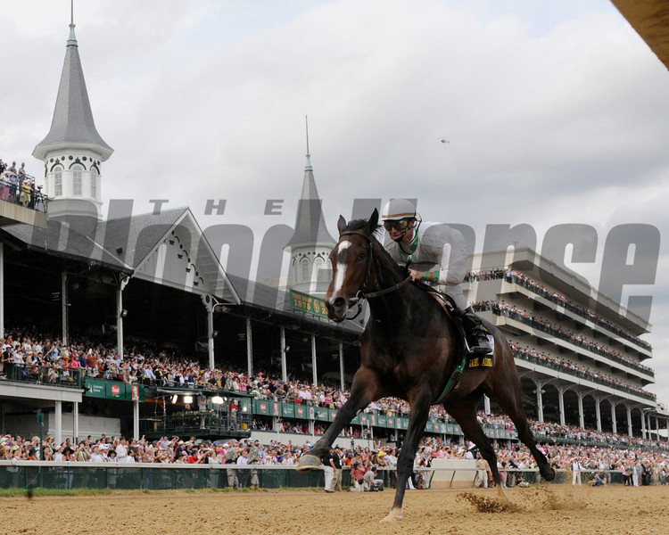 Rachel Alexandra with jockey Calvin Borel wins the 135th running of the Kentucky Oaks at Churchill Downs in Louisville, Kentucky. <br /> Photo by Skip Dickstein