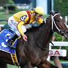 Rachel Alexandra with jockey Calvin Borel in the irons ran up the rail to beat Macho Again with jockey Robby Albarado to win the 56th running of the Woodword at the Saratoga Race Course in Saratoga Springs, New York September 5, 2009.   <br /> Photo by: Skip Dickstein