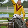 Jockey Calvin Borel is all smiles aboard Rachel Alexandra after winning the 42nd running of The Haskel Invitational at Monmouth Park in Oceanport, New Jersey August 2, 2009.