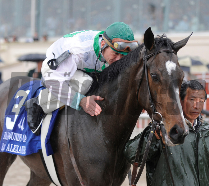 Calvin Borel guides Rachel Alexandra wins the 43rd running of the Fair Grounds Oaks at the Fair Grounds Race Course and Slots March 14, 2009.<br /> Skip Dickstein Photo
