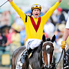 Calvin Borel and Rachel Alexandra after their victory in the 134th Preakness Stakes at Pimlico.<br /> Photo by: Rick Samuels