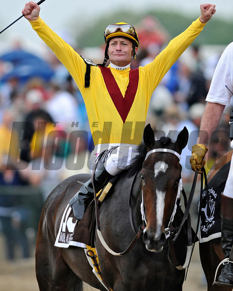 Calvin Borel and Rachel Alexandra after their victory in the 134th Preakness Stakes at Pimlico.<br /> Rick Samuels Photo