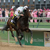 Rachel Alexandra with jockey Calvin Borel wins the 135th running of the Kentucky Oaks at Churchill Downs in Louisville, Kentucky. Photo by Skip Dickstein