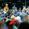 Rachel Alexandra with jockey Calvin Borel aboard circles the paddock at Monmouth Park in Oceanport, New Jersey August 2, 2009 shortly before the start of the 42nd running of The Haskell Invitational.