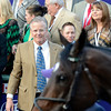 Caption: Bill Mott looks at Royal Delta in winner circle.<br /> Royal Delta with Mike Smith wins the Ladies Classic. <br /> Breeders' Cup races at Santa Anita near Arcadia, California, on Nov. 2, 2012.<br /> BCRACES2012          Ladies Classic1    image407<br /> Photo by Anne M. Eberhardt