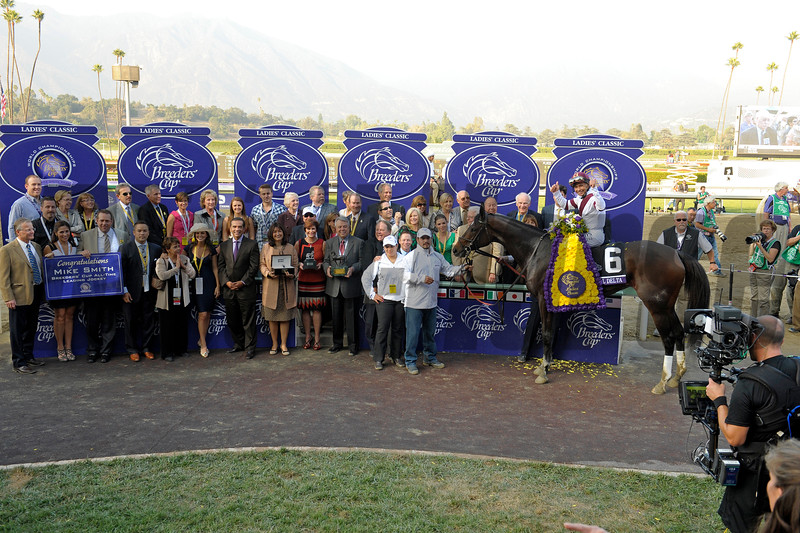 Caption: Royal Delta with Mike Smith wins the Ladies Classic. <br /> Breeders' Cup races at Santa Anita near Arcadia, California, on Nov. 2, 2012.<br /> BCRACES2012          Ladies Classic2    image<br /> Photo by Anne M. Eberhardt