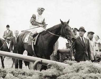 Ruffian being brought into the Aqueduct Winner's Circle; Mother Goose Stakes