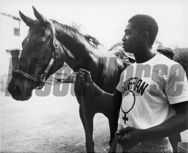 Ruffian and regular exercise rider John Truesdale before the great match race at Belmont Park against Foolish Pleasure, 1975.