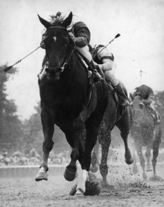 Ruffian and jockey Jacinto Vasquez wins the Coaching Club American Oaks at Belmont Park.