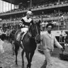 Seattle Slew and jockey Jean Cruguet after the Wood Memorial. <br /> Photo by: Bob Coglianese