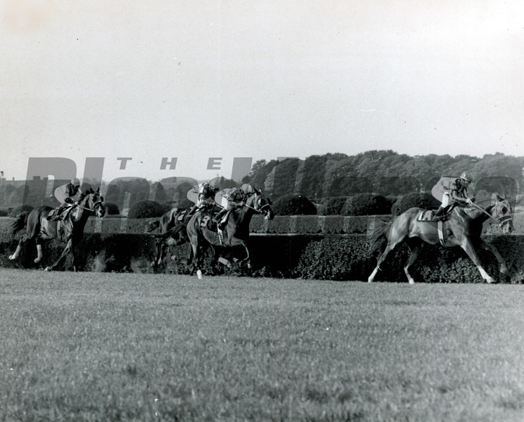 Secretariat leading in 1973 Man o' War Stakes after first turn<br /> Bob Coglianese Photo