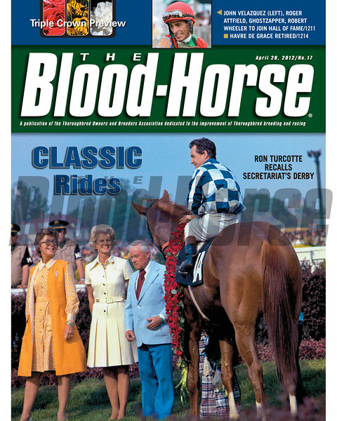 April 28, 2012 Issue 17 Cover of The Blood-Horse with Secretariat after the Kentucky Derby.<br /> <br /> © The Blood-Horse
