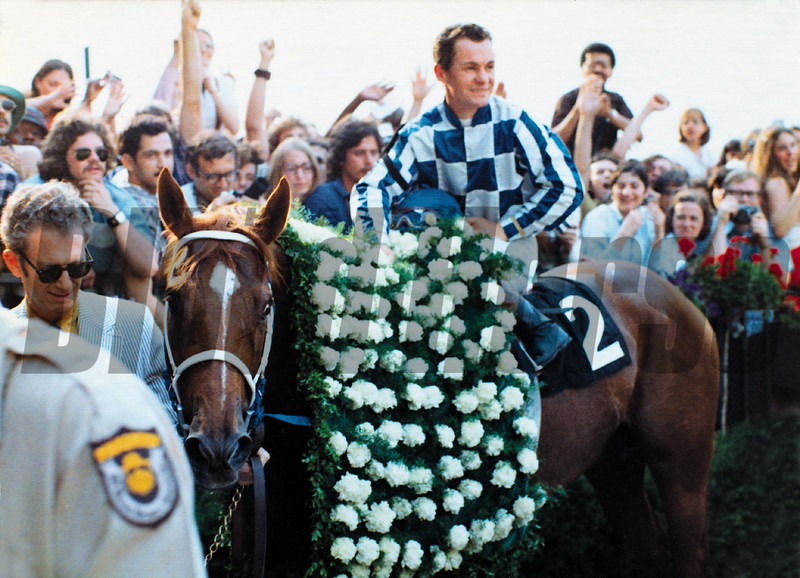 Secretariat wins the 1973 Belmont Stakes sweeping the triple crown at Belmont Park. <br /> Photo by: Bob Coglianese