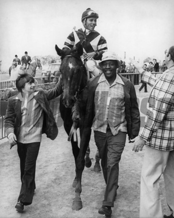 Spectacular Bid after winning the Chamagine on October 8, 1978.<br /> Photo by: Bob Coglianese