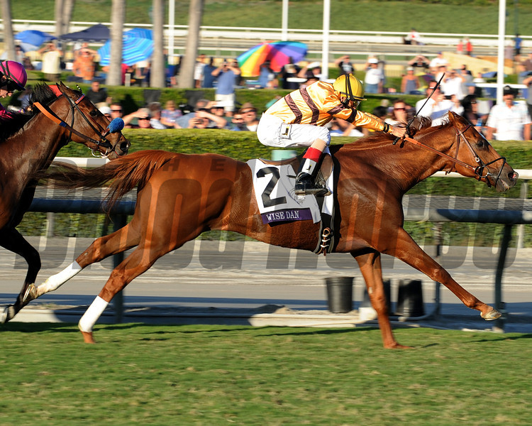 Wise Dan wins the 2012 Breeders' Cup Mile.<br /> Photo by Dave Harmon