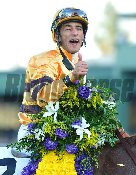 John Velazquez after winning the Breeders Cup Mile....<br /> © 2012 Rick Samuels/The Blood-Horse