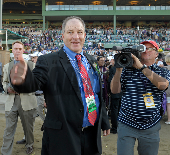 Caption: jTrainer Charlie Lopresti gives thumbs up after win. Wise Dan with John Velazquez wins the Mile.<br /> Breeders' Cup races at Santa Anita near Arcadia, California, on Nov. 3, 2012.<br /> BCRACES2012       Mile  image873<br /> Photo by Anne M. Eberhardt
