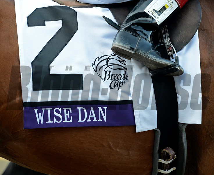 Caption: Wise Dan with John Velazquez wins the Mile.<br /> Breeders' Cup races at Santa Anita near Arcadia, California, on Nov. 3, 2012.<br /> BCRACES2012       Mile  image398<br /> Photo by Anne M. Eberhardt