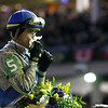 Jockey Garrett Gomez celebrated winning the Breeders' Cup Classic (G. I) on Blame, overtaking favorite Zenyatta by a nose.