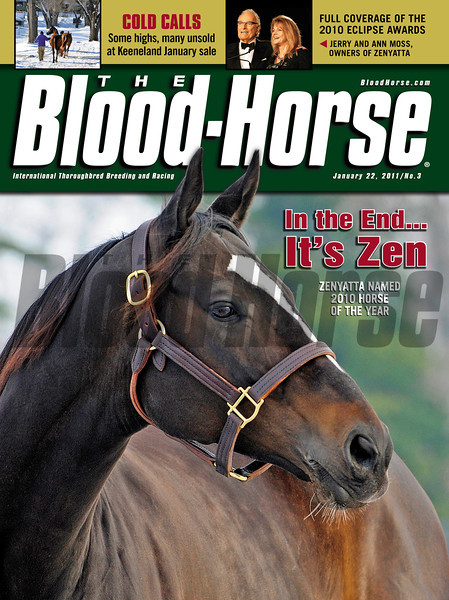 Blood-Horse magazine cover for January 22, 2010 featuring newly crowned Horse of the Year, Zenyatta with Jerry and Anne Moss on the banner. Also, coverage from Keeneland January Sale.