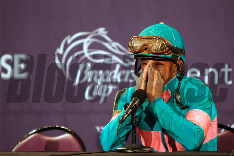Jockey Mike Smith got emotional at a press conference discussing Zenyatta's loss in the Breeders' Cup Classic (G. I) on November 6, 2010 at Churchill Downs.