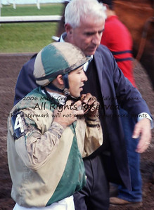 Nick Zito and Jeremy Rose, just after Rose rode Noble Causeway to finish second after a long layoff.