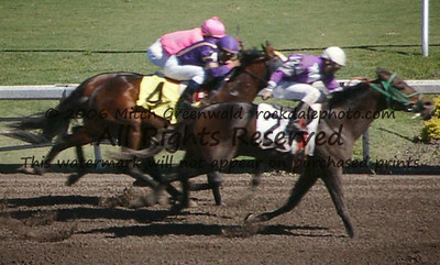 Awesome Idea (Eddie Castro up) beats out Sixteen Gauge (Rafael Bejarano) for show.
