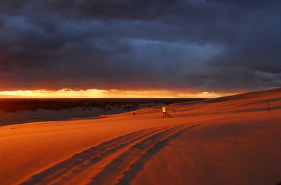 Sunset over the Silver Lake Sand Dunes, Mears, Michigan, USA.