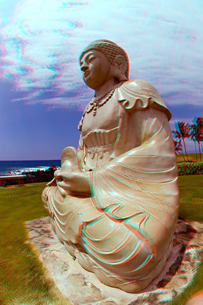 Statue of Buddha in 3D, Waikoloa Hawaii