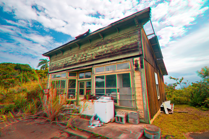 3D image of shack, Waipio