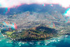 3D aerial view of Diamondhead Crater, or its Hawaiian name 'Leahi', Waikiki to the left, Palolo Valley directly behind. and Manoa behind and far left, Honolulu, Hawaii ( Central Pacific Ocean )