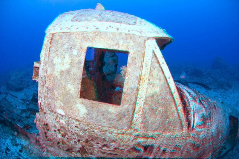 3D image of the cockpit of a Beechcraft tour plane wreck in 80 feet of water, Keahole, Hawaii