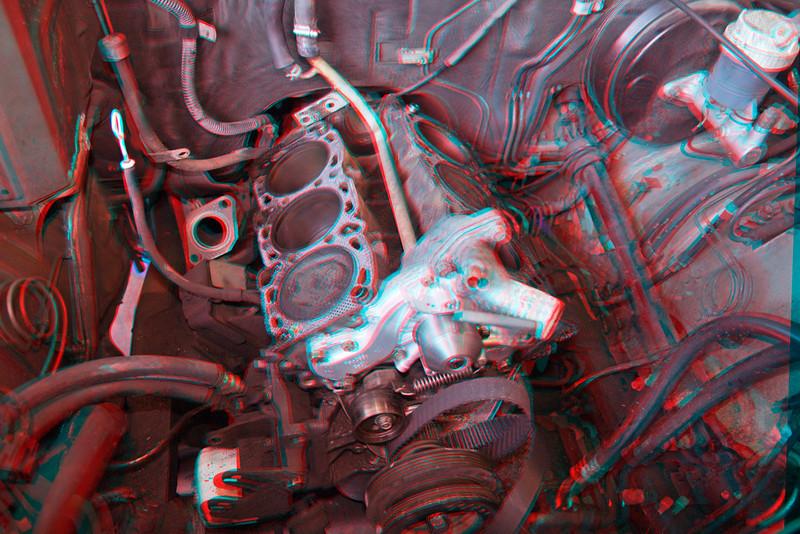 3D image of six cylinder engine being rebuilt