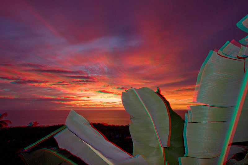 3D image of sunset, Kona, Hawaii ( Central Pacific Ocean )