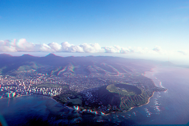 Aerial photograph of Diamondhead Crater and Waikiki in Oahu in 3D, Hawaii