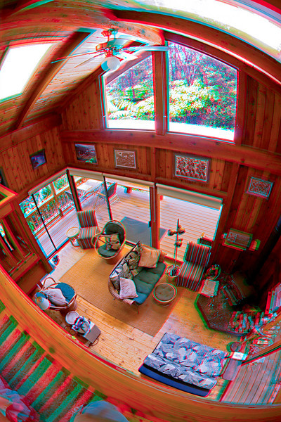 3D image from the loft of a cabin in Volcano, Big Island, Hawaii
