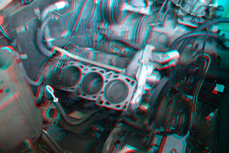 3D image of six cylinder engine being rebuilt