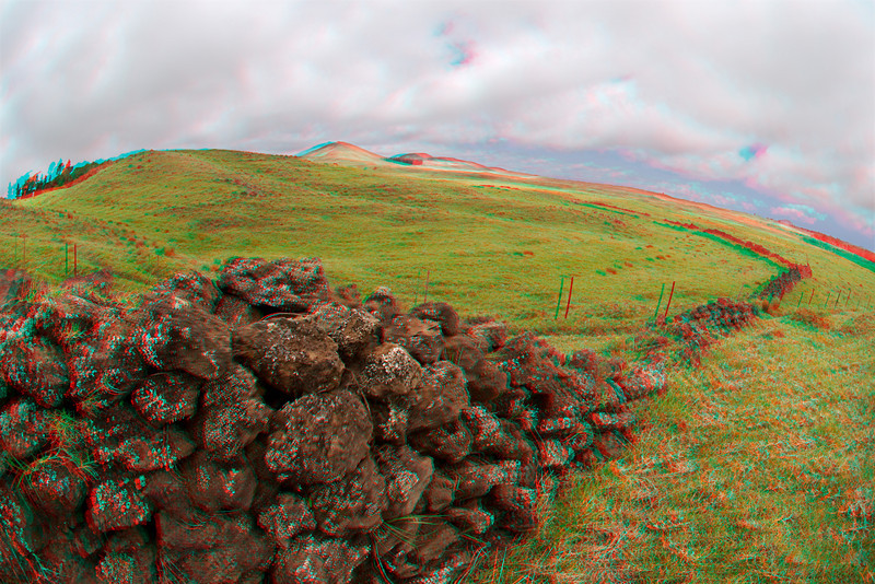 3D image of old dry stack rock wall in Waimea, Hawaii
