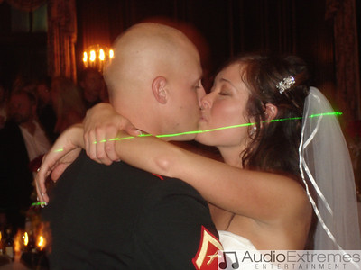 Cpl. Nathan Adey and Alicia Kiss during the first dance as our green laser passes by
