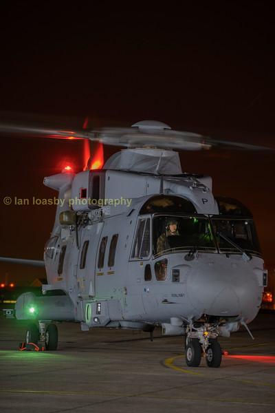 ZJ131 Merlin MOD / Leonardo conversion Yeovil; during engine run.