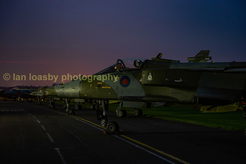 The Jaguar line up with closest to the camera, XX819;  XZ370; XX727 and furthest away XX925