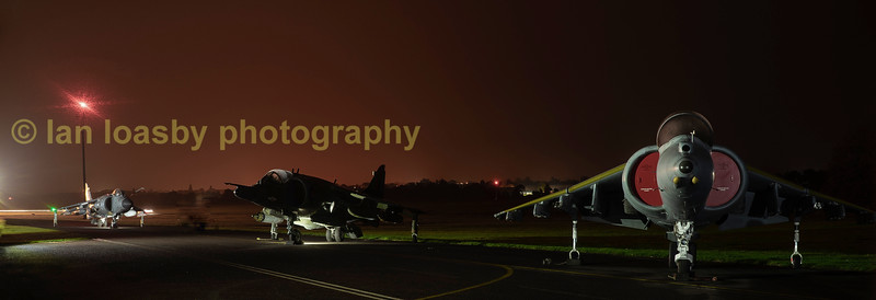 lft to right   Bae harriers ,   ZH 796 Sea Harrier FA2 of 800/801 RNAS ; XS 991 a GR3 1 fighter Sqn & right ZD 465 a GR5 of NA wing