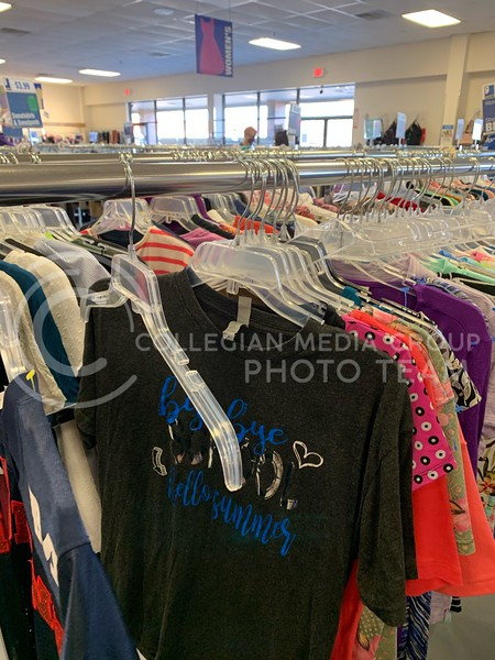 Clothing fills the racks of the Manhattan Goodwill, allowing shoppers to take advantage of a wide variety of goods. (Sophie Osborn | Collegian Media Group)
