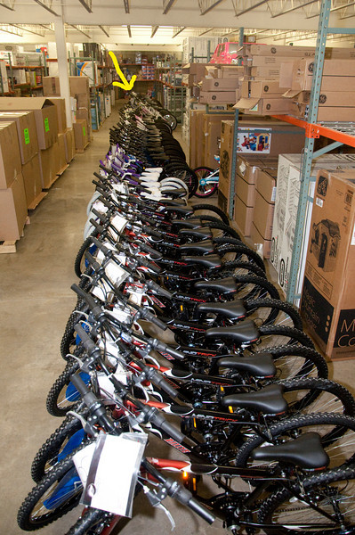 The yellow arrow in this photo points to the very end of the row of bicycles. (Just in case you were wondering what 78 bicycles looks like...)