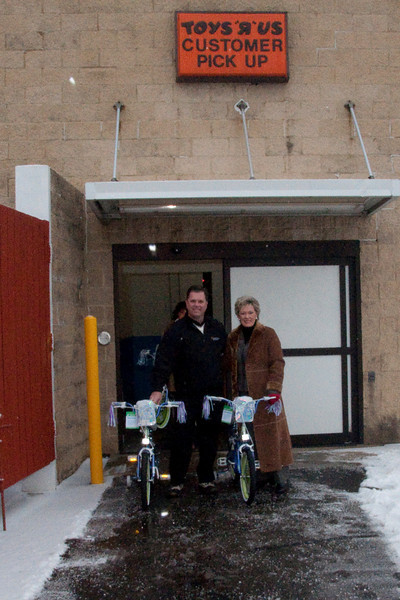 That's me and my mom, Heidi Todd. She raised funds through her co-workers to buy bikes.