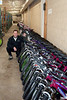 Al Todd and a row of approximately 100 of the 166 bikes we donated.