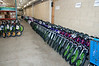 In the basement of Toys R Us on Mcknight Rd, bikes are lined up and waite for transport.