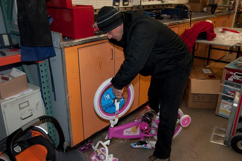Mark Homison does some bike repair.