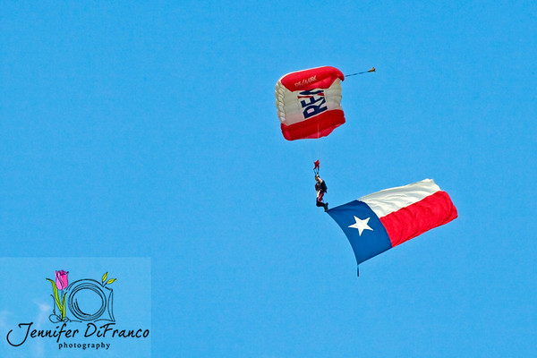 September 21, 2008<br /> <br /> Plano Balloon Festival - Plano, Texas - always kicks off with skydivers coming in with the American flag and the Texas state flag.