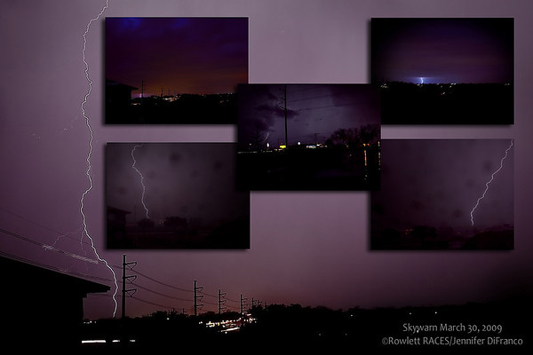 April 1,2009<br /> <br /> We (Skywarn storm spotters) were activated very late on the 30th, early 31st.  The storm was very intense just west of us.  There were some reports of baseball sized hail.  By the time the storm got to us it had weakened quite a bit. We had drenching 2 to 3 inch per hour rain for about 10 to 15 minutes.  The gust front was pretty strong and started blowing that rain nearly horizontal.  Therefore the two bottom photos of the lightening were taken through a closed car window - resulting in the spots you see on those two images.<br /> <br /> We have another chance of activation again late this evening/very early tomorrow morning. Once again large hail will be the biggest threat.  I REALLY hope it doesn't come as late as this storm did.  Or if they do come late they do not reach the severe point.  I need my sleep.